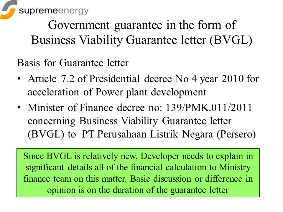 Government guarantee in the form of Business Viability Guarantee letter (BVGL)