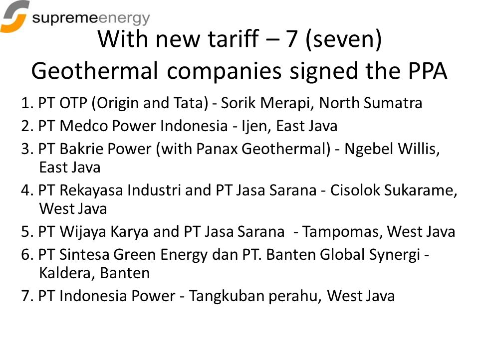 With new tariff – 7 (seven) Geothermal companies signed the PPA