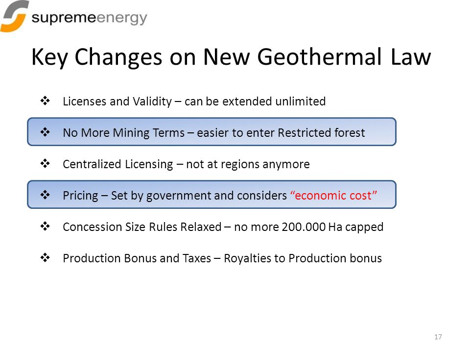 Key Changes on New Geothermal Law