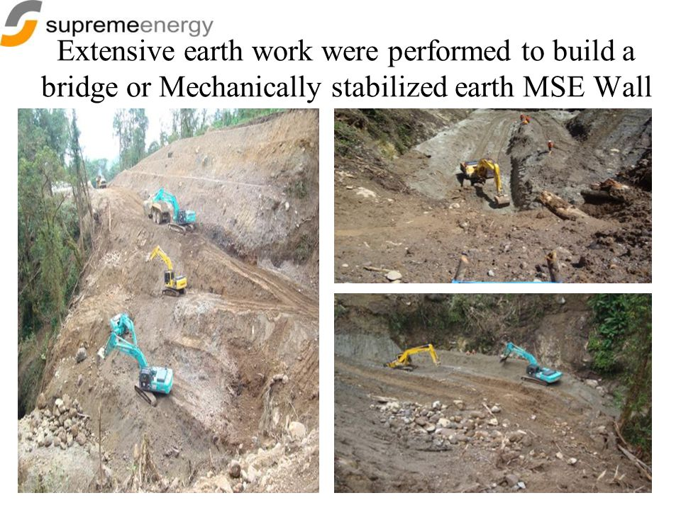 Extensive earth work were performed to build a bridge or Mechanically stabilized earth MSE Wall