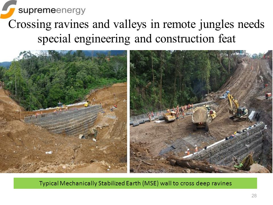Typical Mechanically Stabilized Earth (MSE) wall to cross deep ravines