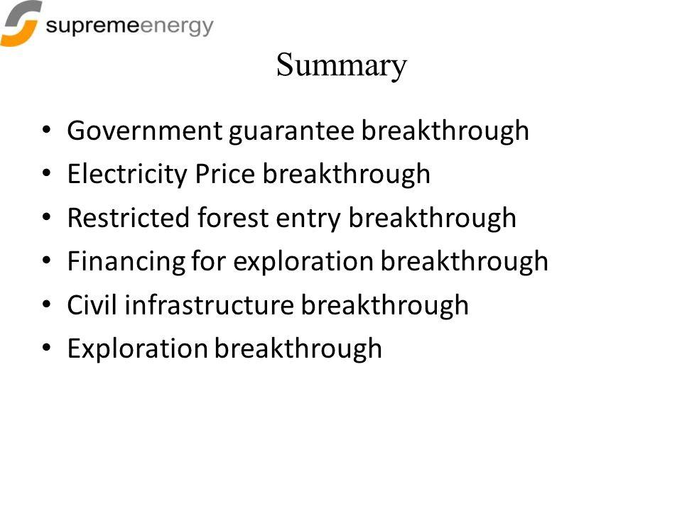 Summary Government guarantee breakthrough