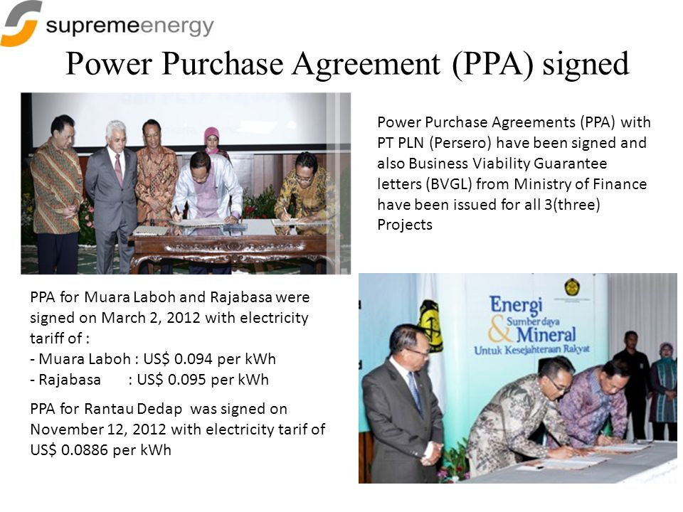 Power Purchase Agreement (PPA) signed