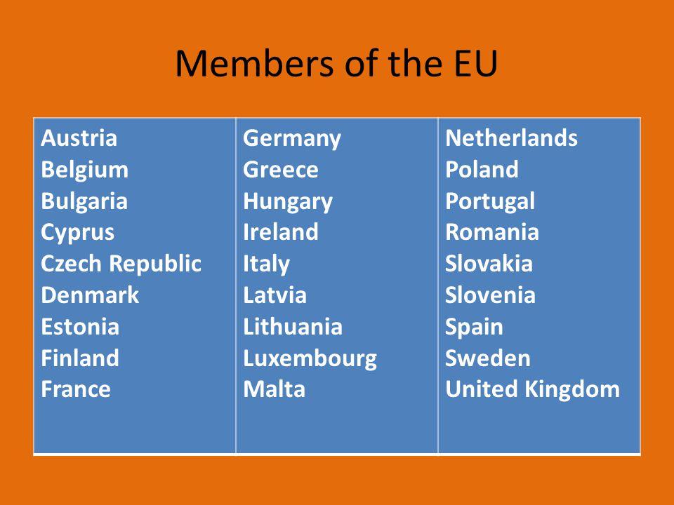 Members of the EU Austria Belgium Bulgaria Cyprus Czech Republic