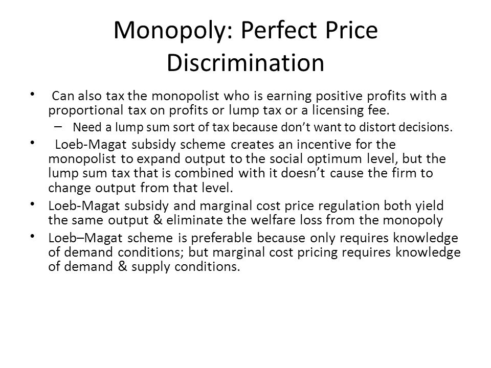Monopoly: Perfect Price Discrimination