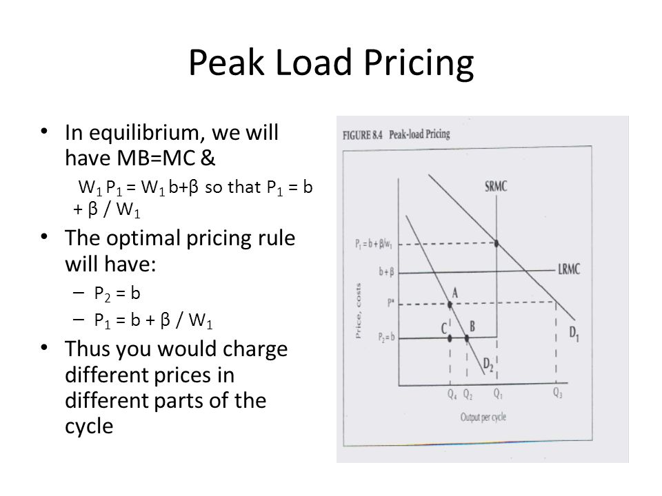 Peak Load Pricing In equilibrium, we will have MB=MC &