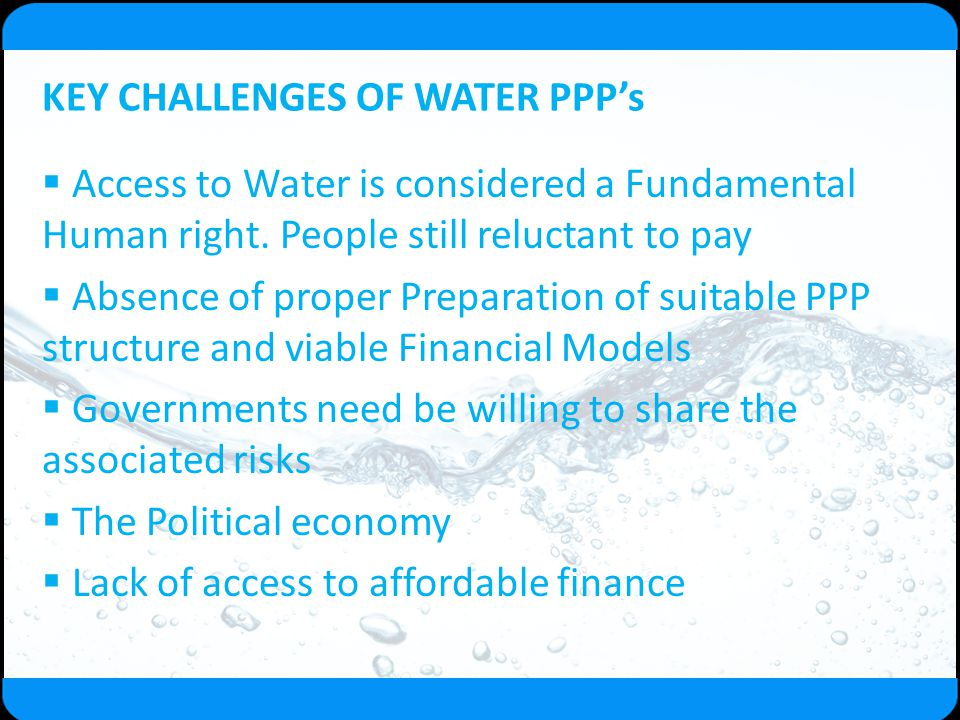 KEY CHALLENGES OF WATER PPP's