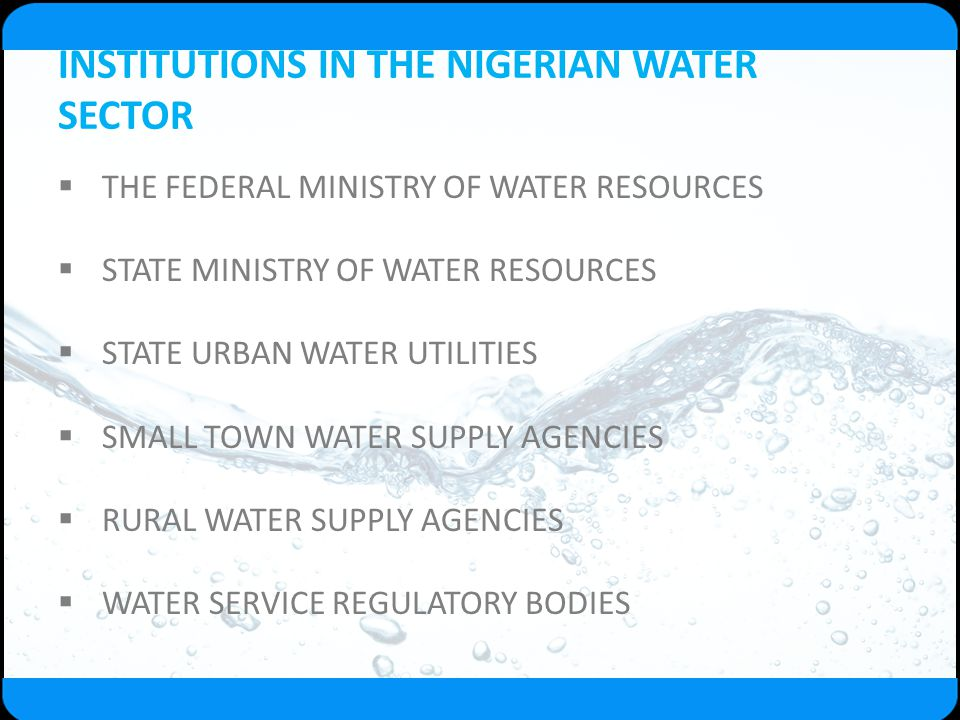INSTITUTIONS IN THE NIGERIAN WATER SECTOR