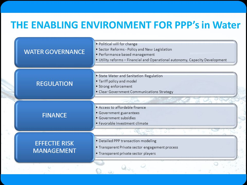 THE ENABLING ENVIRONMENT FOR PPP's in Water