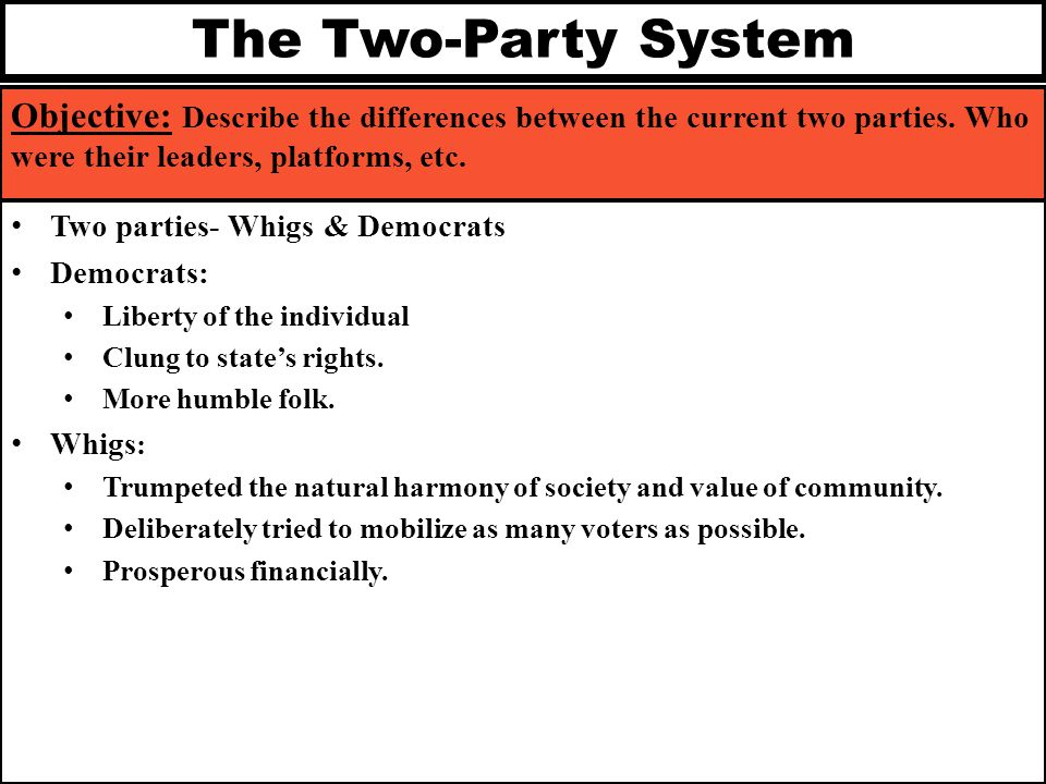 The Two-Party System Objective: Describe the differences between the current two parties. Who were their leaders, platforms, etc.