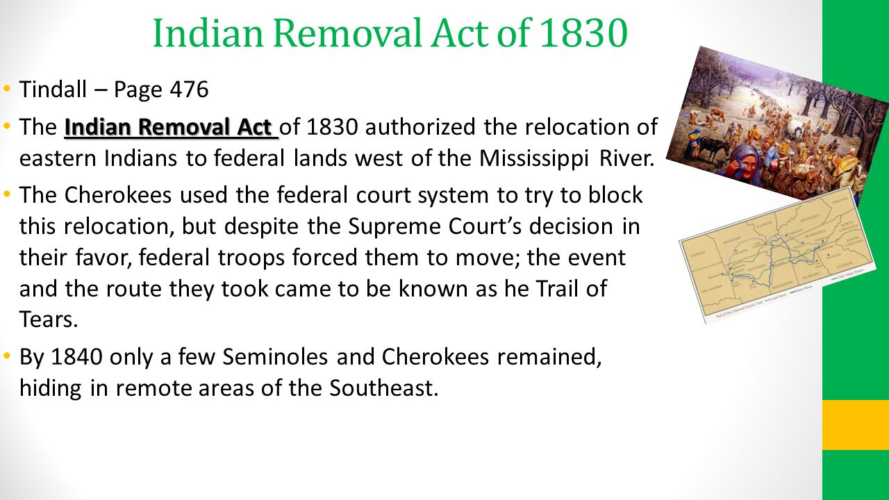 Indian Removal Act of 1830 Tindall – Page 476