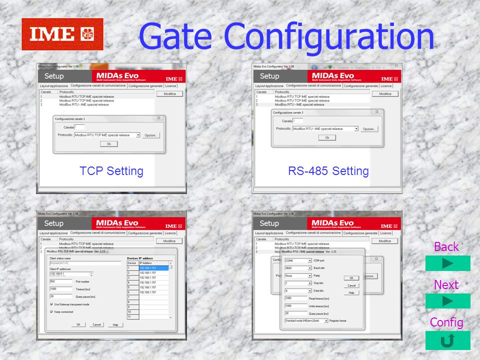 Gate Configuration TCP Setting RS-485 Setting Back Next Config