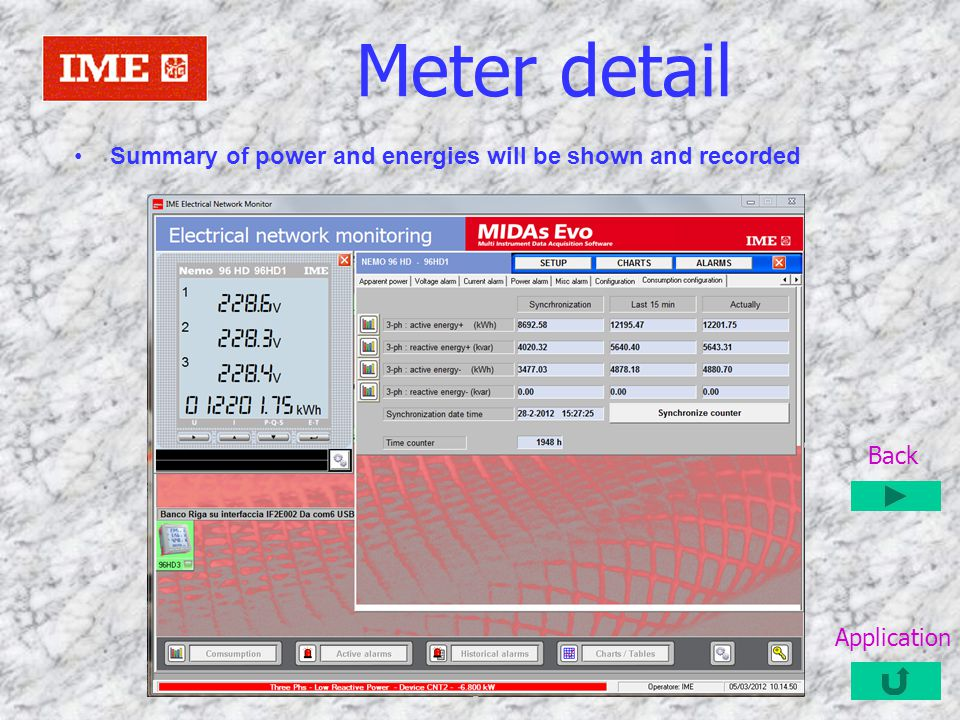Meter detail Summary of power and energies will be shown and recorded