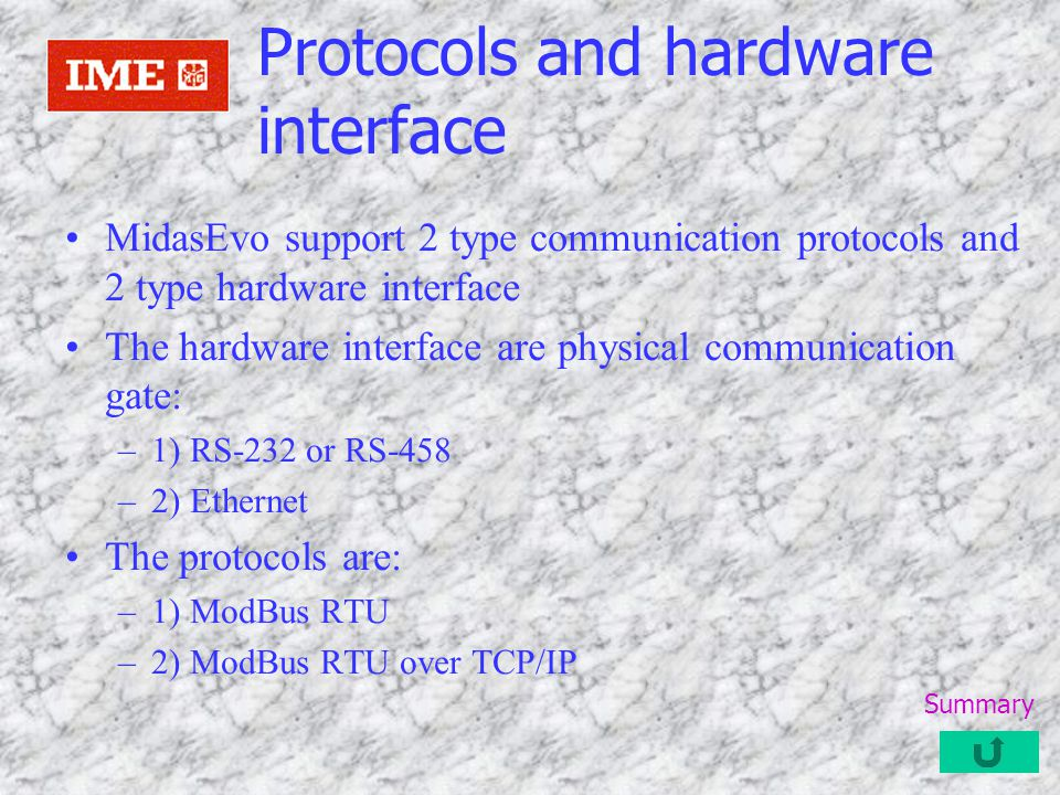 Protocols and hardware interface