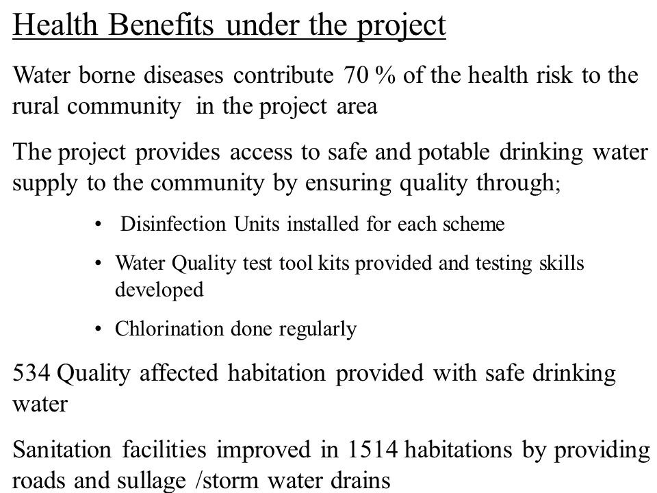 Health Benefits under the project