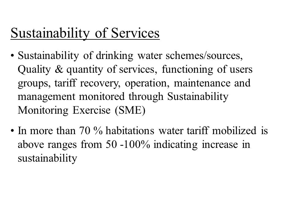 Sustainability of Services