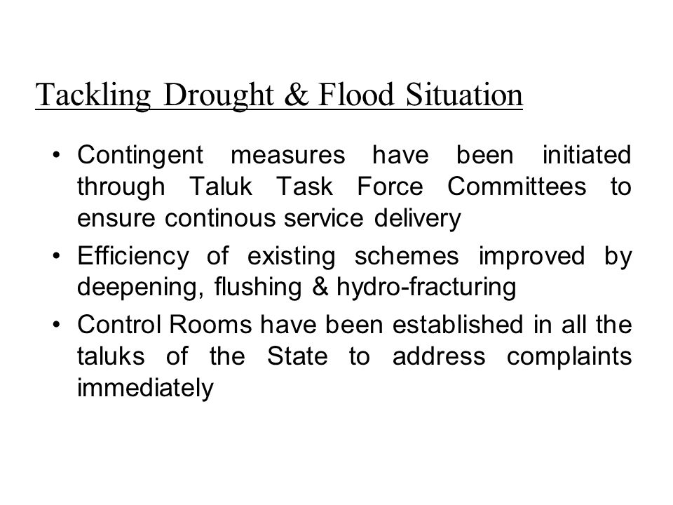 Tackling Drought & Flood Situation