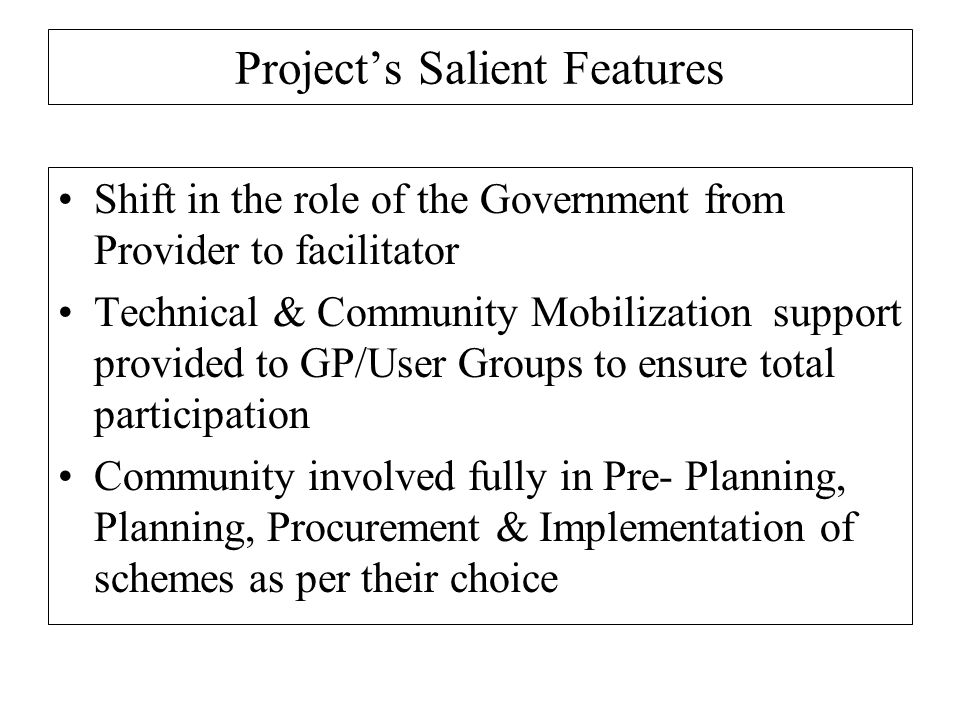 Project's Salient Features