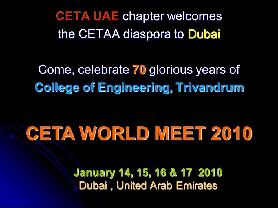 CETA WORLD MEET 2010 CETA UAE chapter welcomes