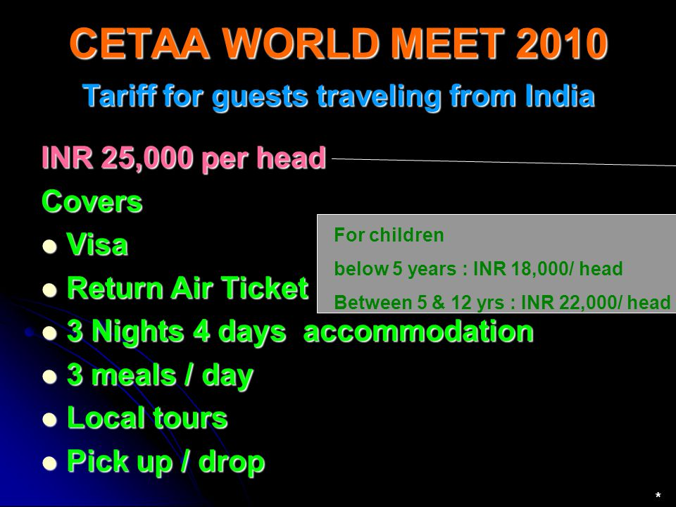 Tariff for guests traveling from India