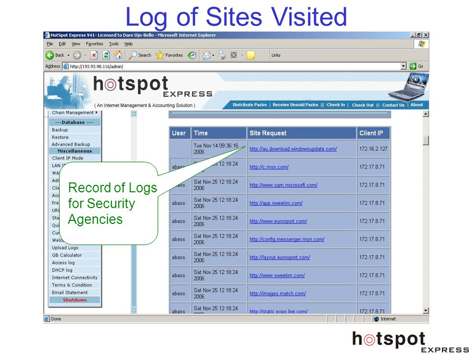 Log of Sites Visited Record of Logs for Security Agencies