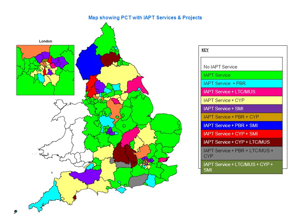 Map showing PCT with IAPT Services & Projects