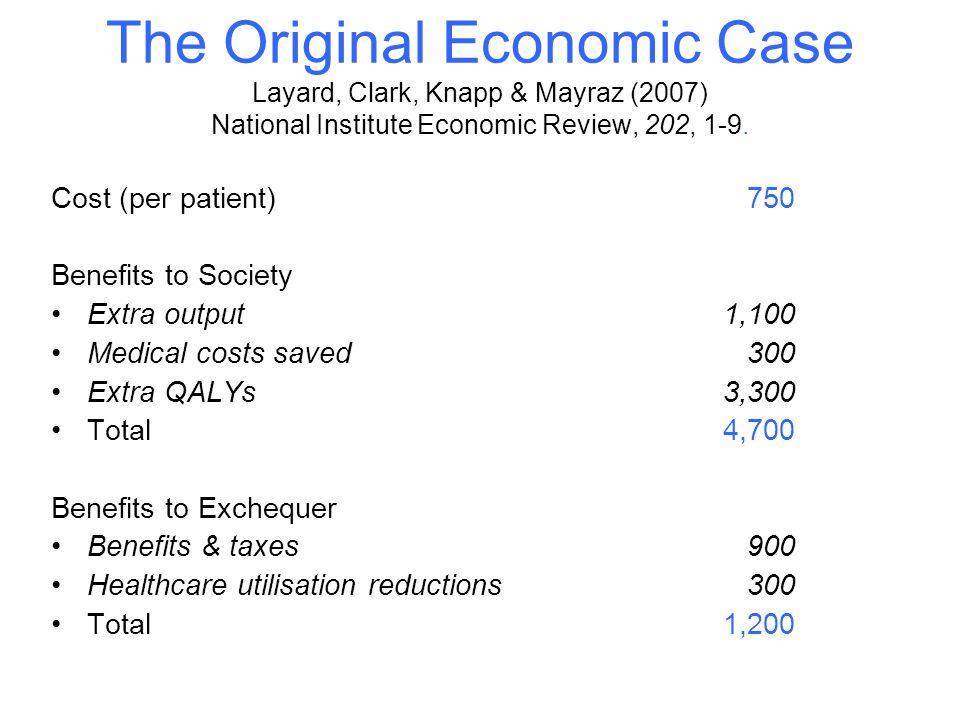 The Original Economic Case Layard, Clark, Knapp & Mayraz (2007) National Institute Economic Review, 202, 1-9.
