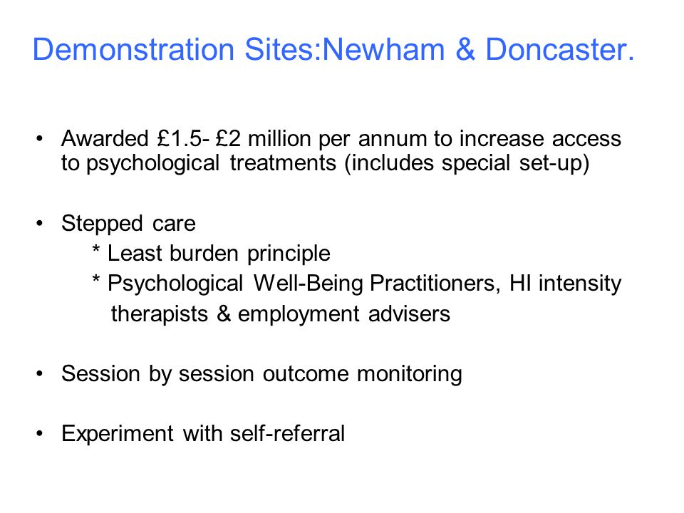 Demonstration Sites:Newham & Doncaster.