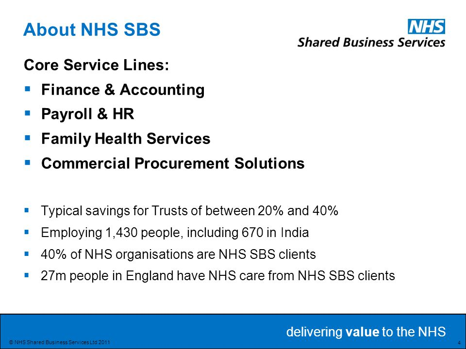 About NHS SBS Core Service Lines: Finance & Accounting Payroll & HR