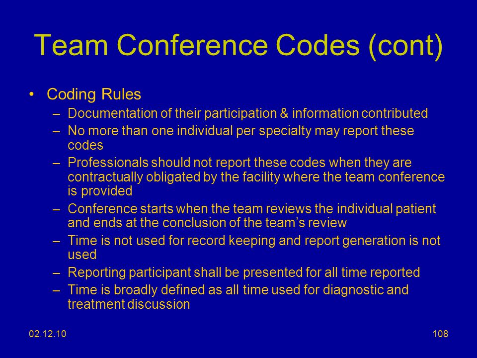 Team Conference Codes (cont)