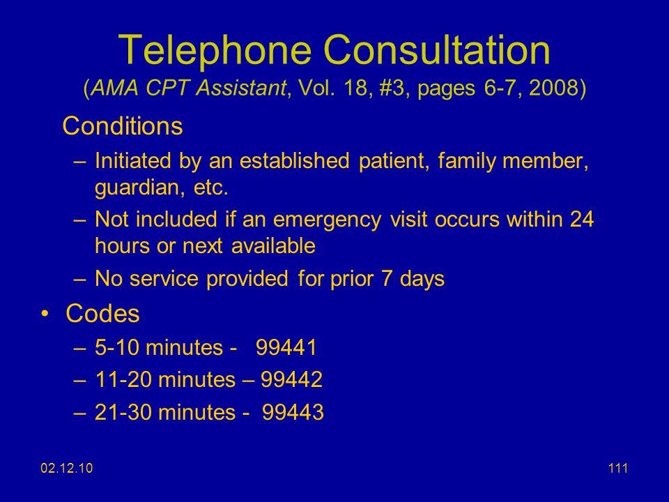 Telephone Consultation (AMA CPT Assistant, Vol