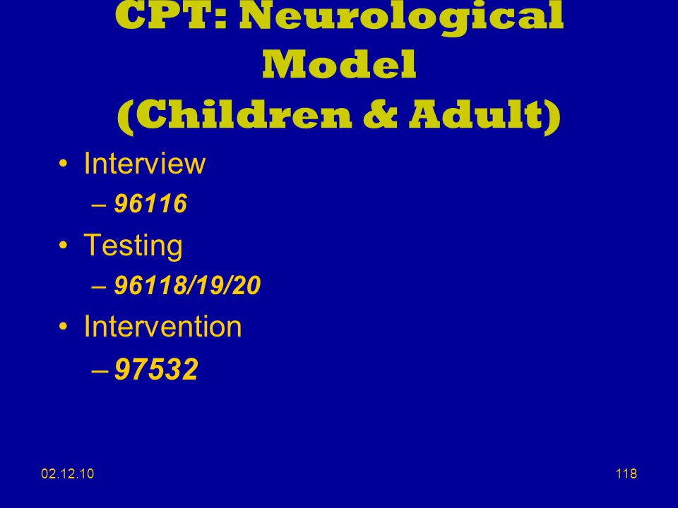 CPT: Neurological Model (Children & Adult)