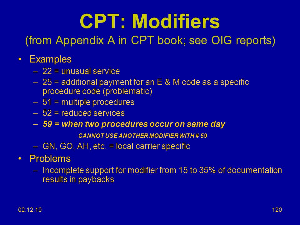 CPT: Modifiers (from Appendix A in CPT book; see OIG reports)