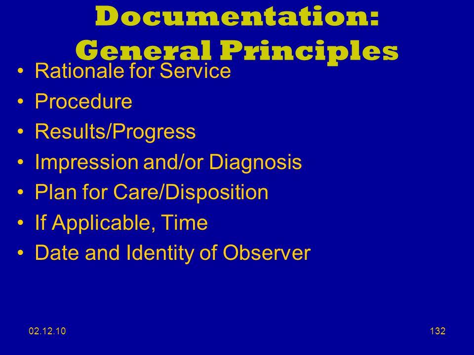 Documentation: General Principles