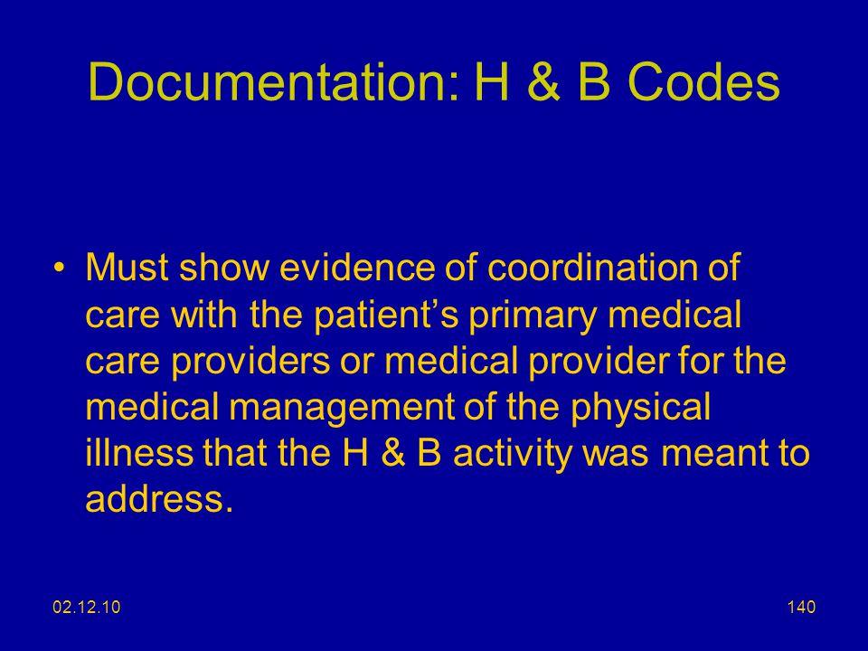 Documentation: H & B Codes