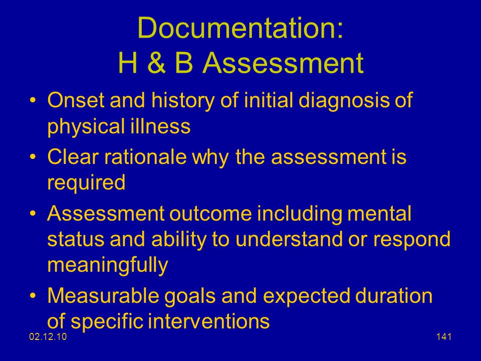 Documentation: H & B Assessment