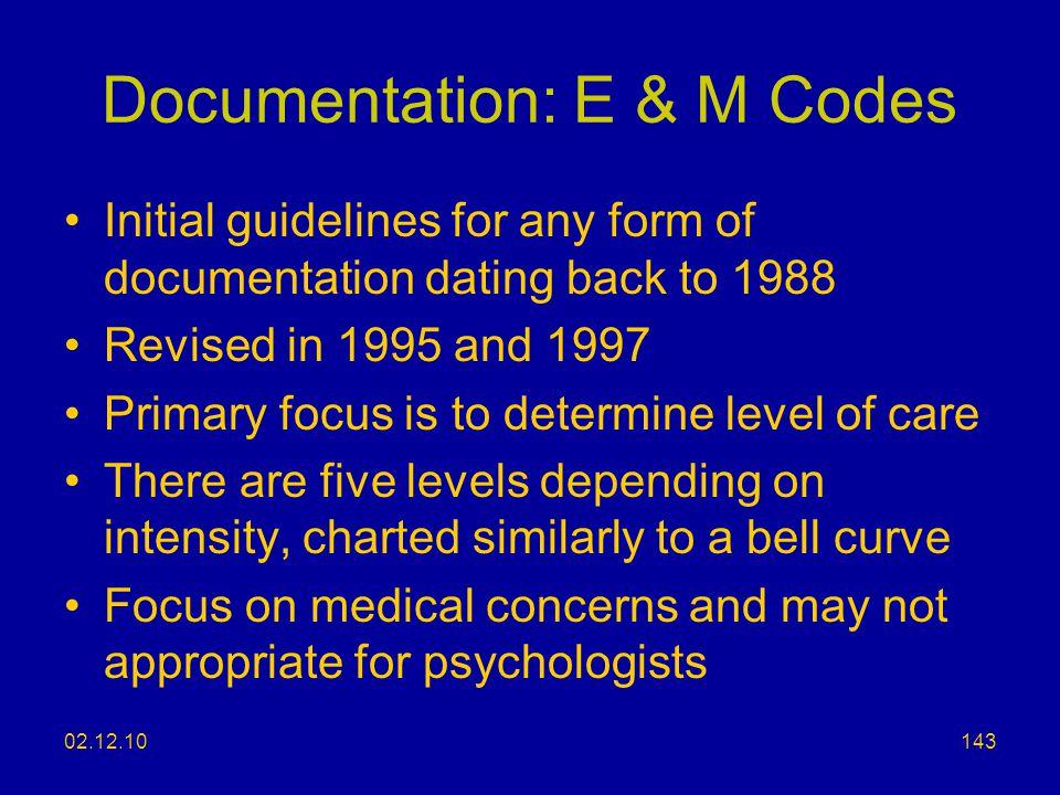 Documentation: E & M Codes