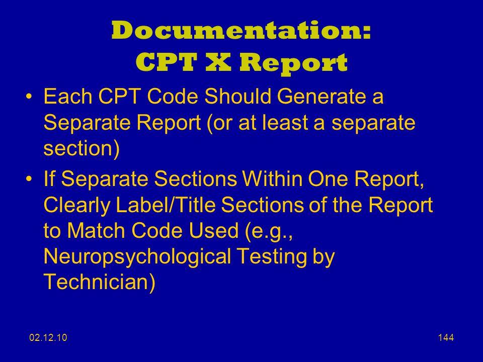 Documentation: CPT X Report
