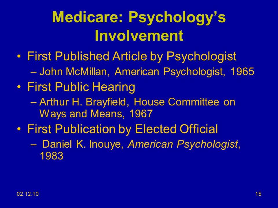 Medicare: Psychology's Involvement