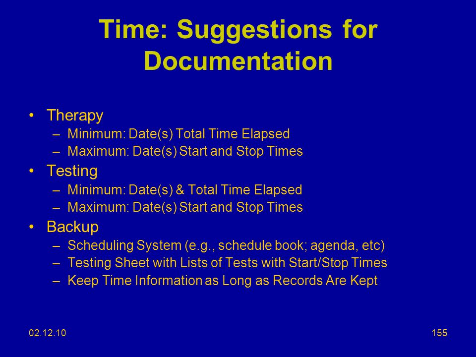 Time: Suggestions for Documentation