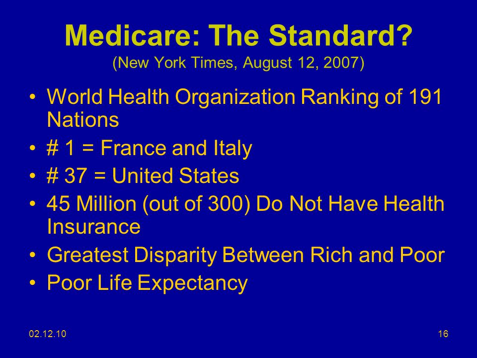 Medicare: The Standard (New York Times, August 12, 2007)