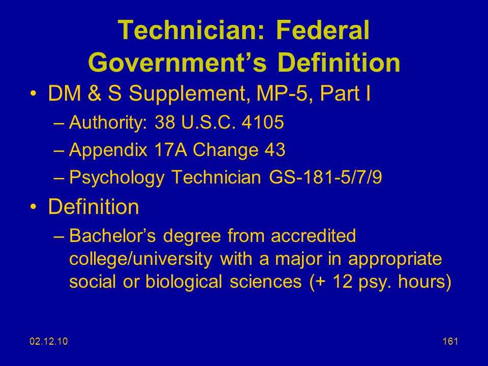 Technician: Federal Government's Definition