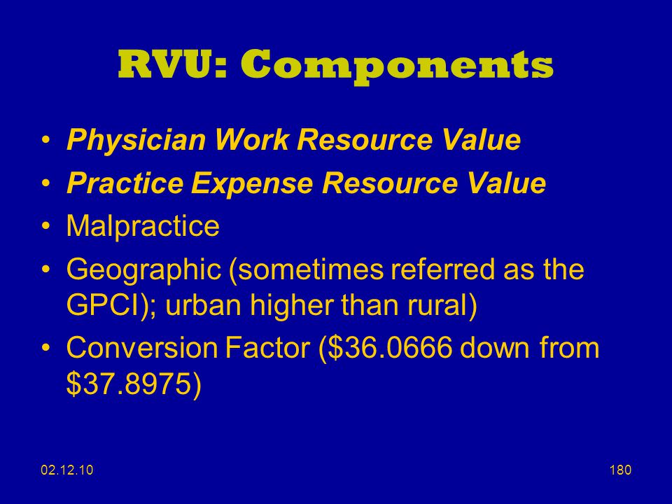 RVU: Components Physician Work Resource Value