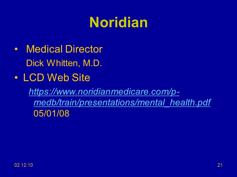 Noridian Medical Director LCD Web Site Dick Whitten, M.D.