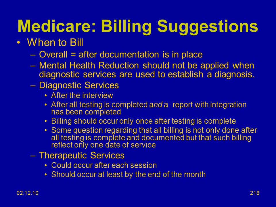 Medicare: Billing Suggestions