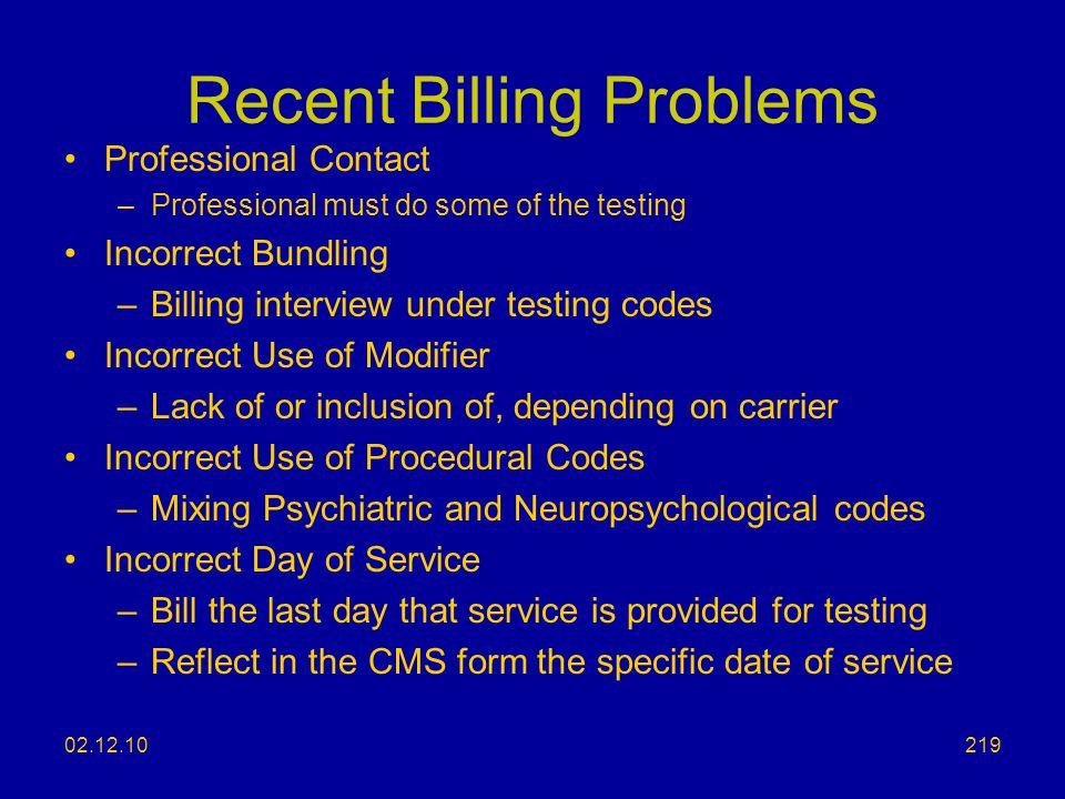Recent Billing Problems