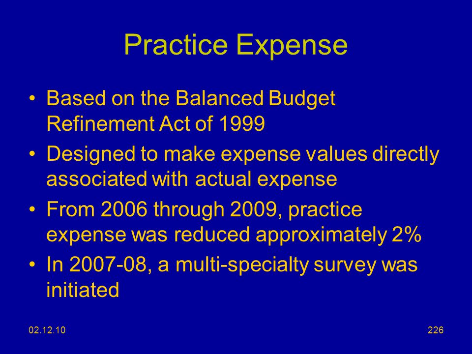 Practice Expense Based on the Balanced Budget Refinement Act of 1999