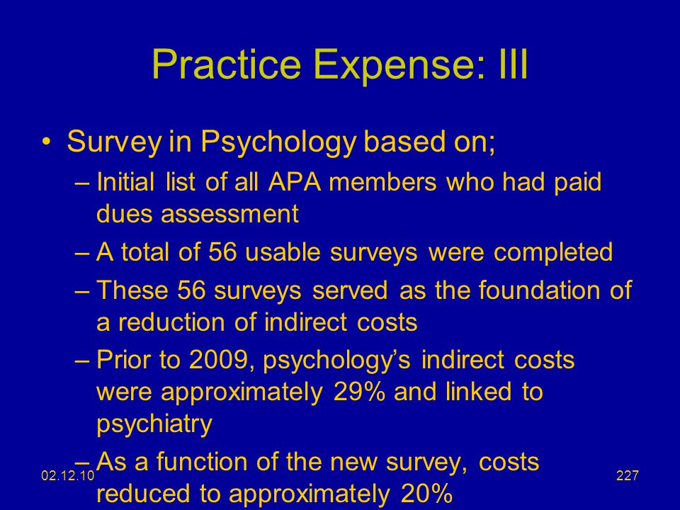 Practice Expense: III Survey in Psychology based on;