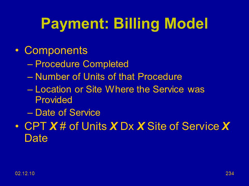 Payment: Billing Model