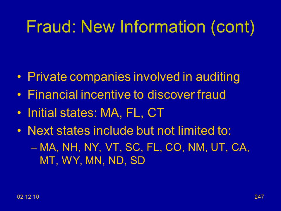Fraud: New Information (cont)
